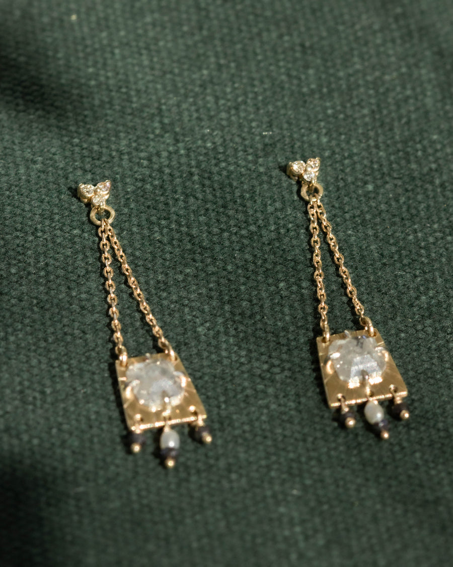 OOAK Diamond Etruscan Sabina Earrings in Gold