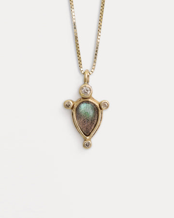 Labradorite Cygnus Necklace <br> Diamonds & Gold