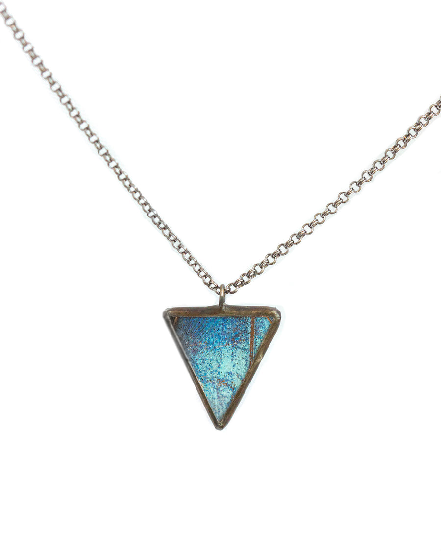 Arrow Pendant Necklace with Blue Morpho