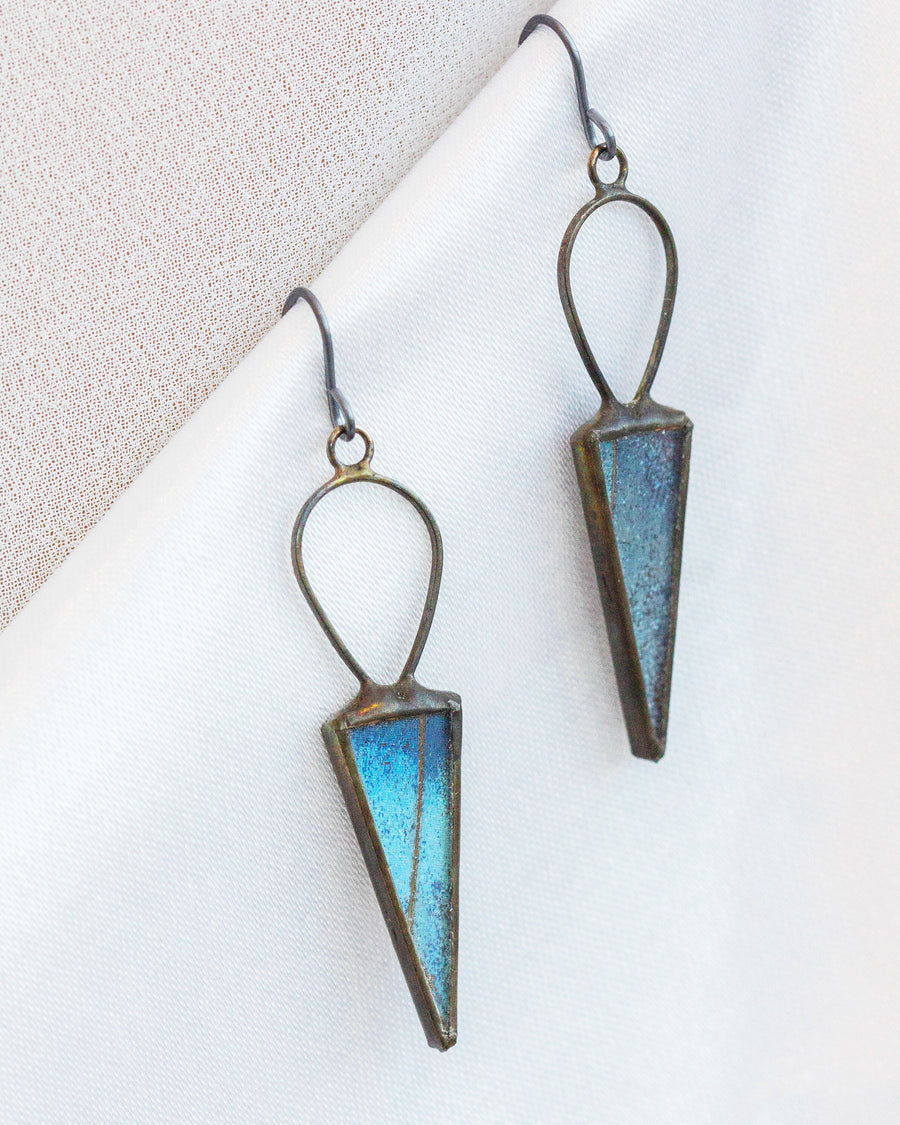 Chiron's Arrow Earrings with Blue Morpho Butterfly