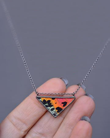 Classic Triangle Necklace <br> Rainbow Sunset Moth