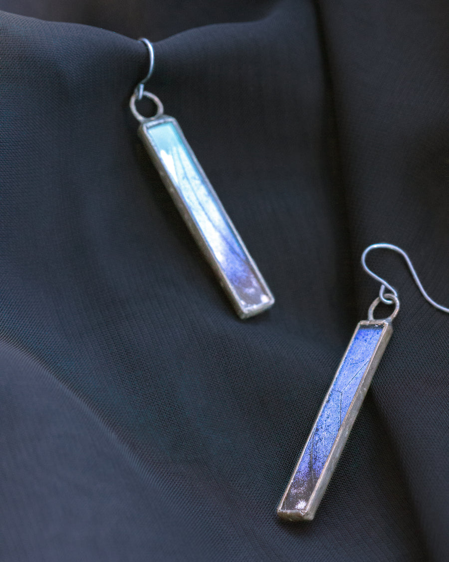 Column Earrings with Blue Morpho