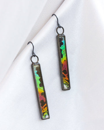 Column Earrings with Sunset Moth