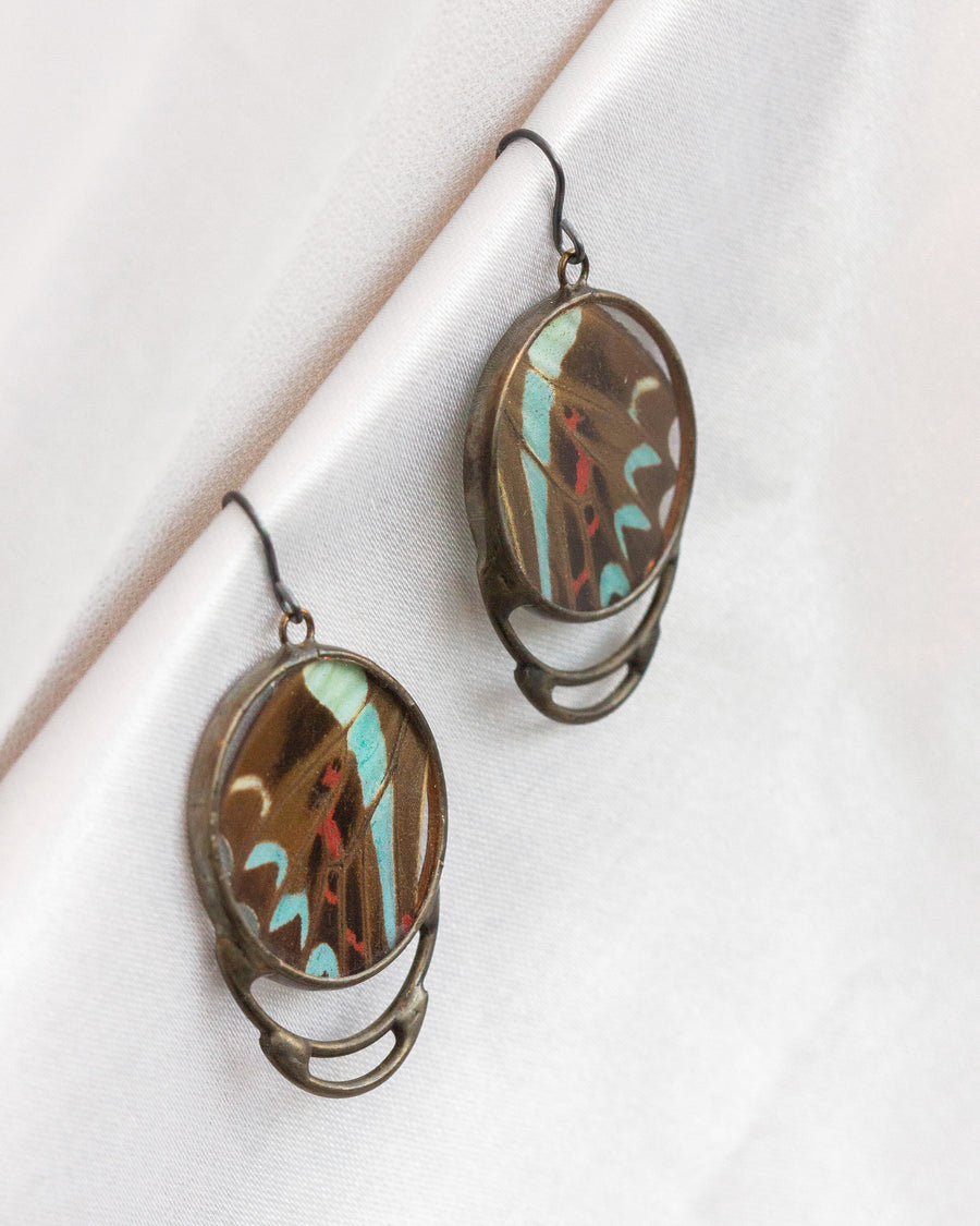 Concentric Earrings with Bluebottle Butterfly