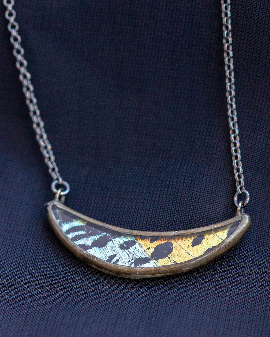 Crescent Necklace with Rainbow Sunset Moth
