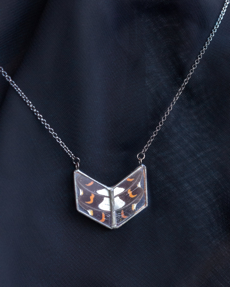 Diamond Alchemy Necklace with Scarlet Midnight Butterfly