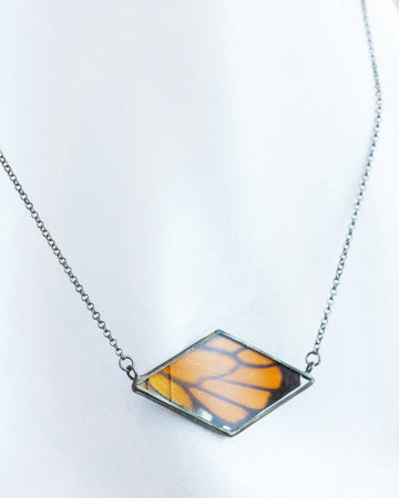 Diamond Necklace with Monarch Butterfly - Damaged Sale