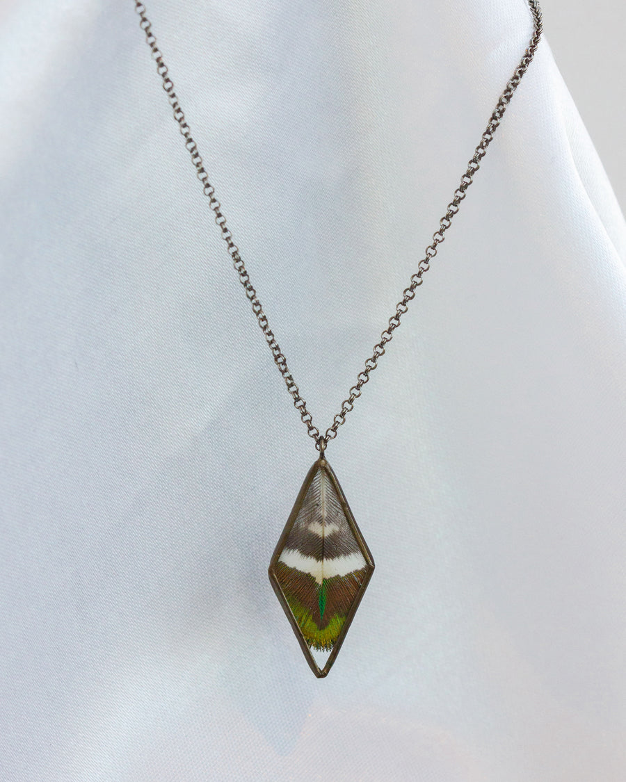 Diamond Pendant Necklace with Peacock Feather