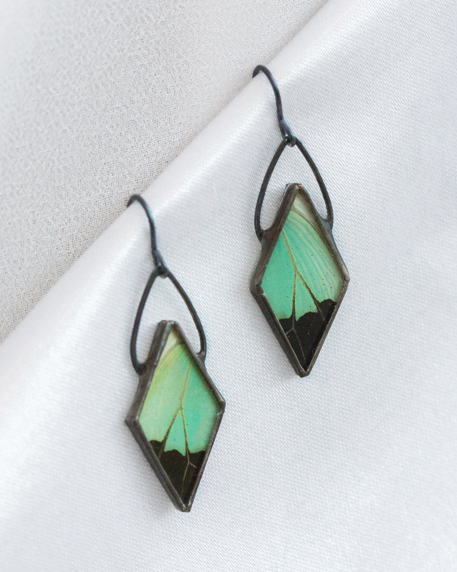 Diamond Reflection Earrings with Apple Green Swallowtail