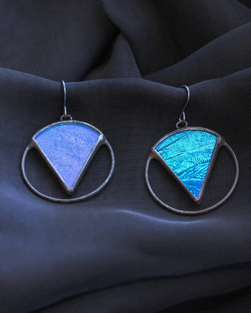 For-The-Collective Earrings with Blue Morpho Butterfly