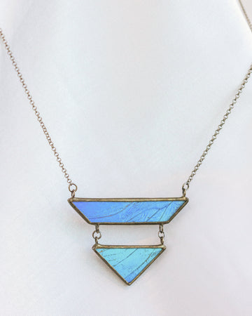 Geometric Drop Necklace with Blue Morpho