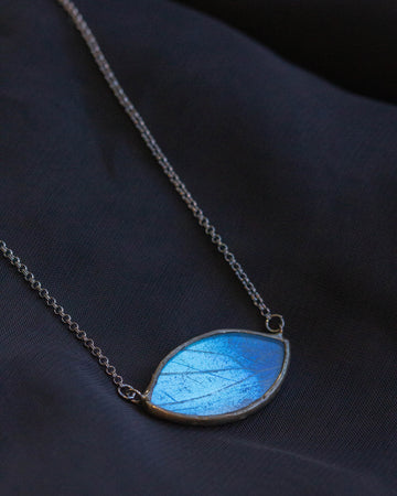Infinite Eye Necklace with Blue Morpho