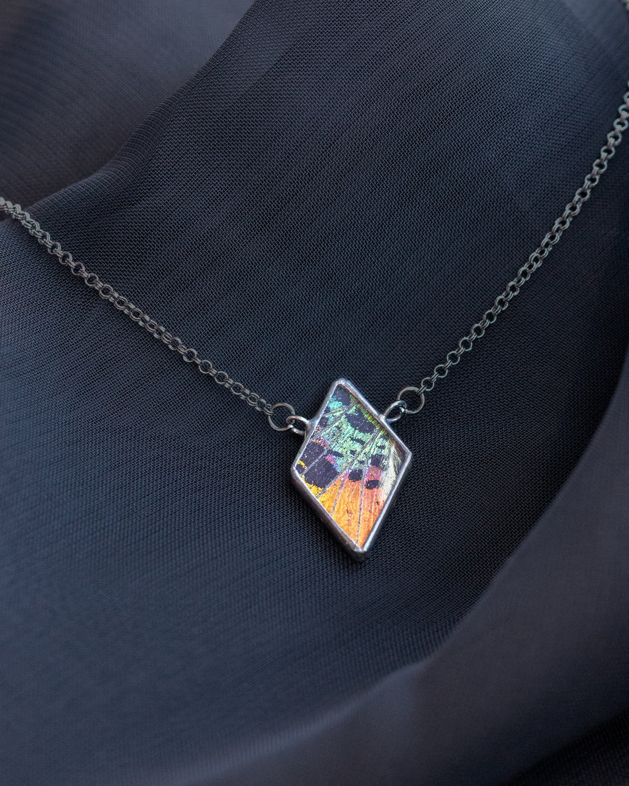 Lilith Necklace with Rainbow Sunset Moth