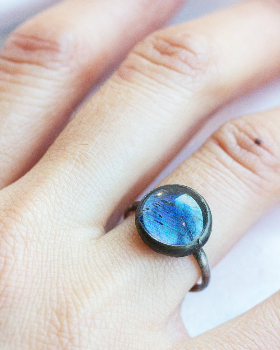 Looking Glass Ring with Peacock Feather SIZE 6