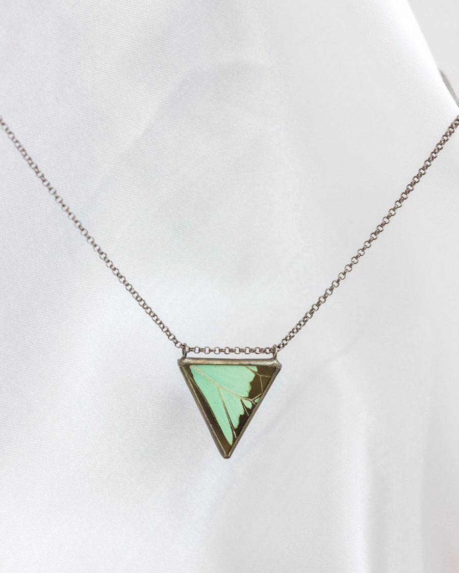 Parallel Isosceles Necklace with Apple Green Swallowtail