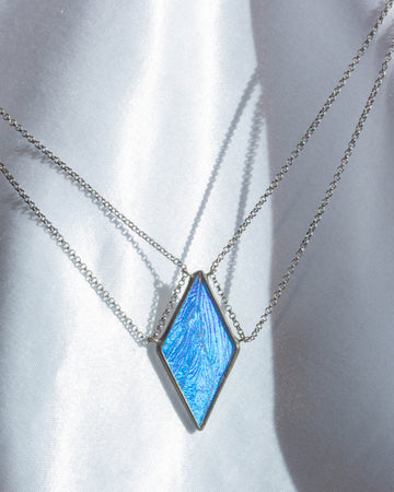 Tethered Diamond Necklace with Blue Morpho