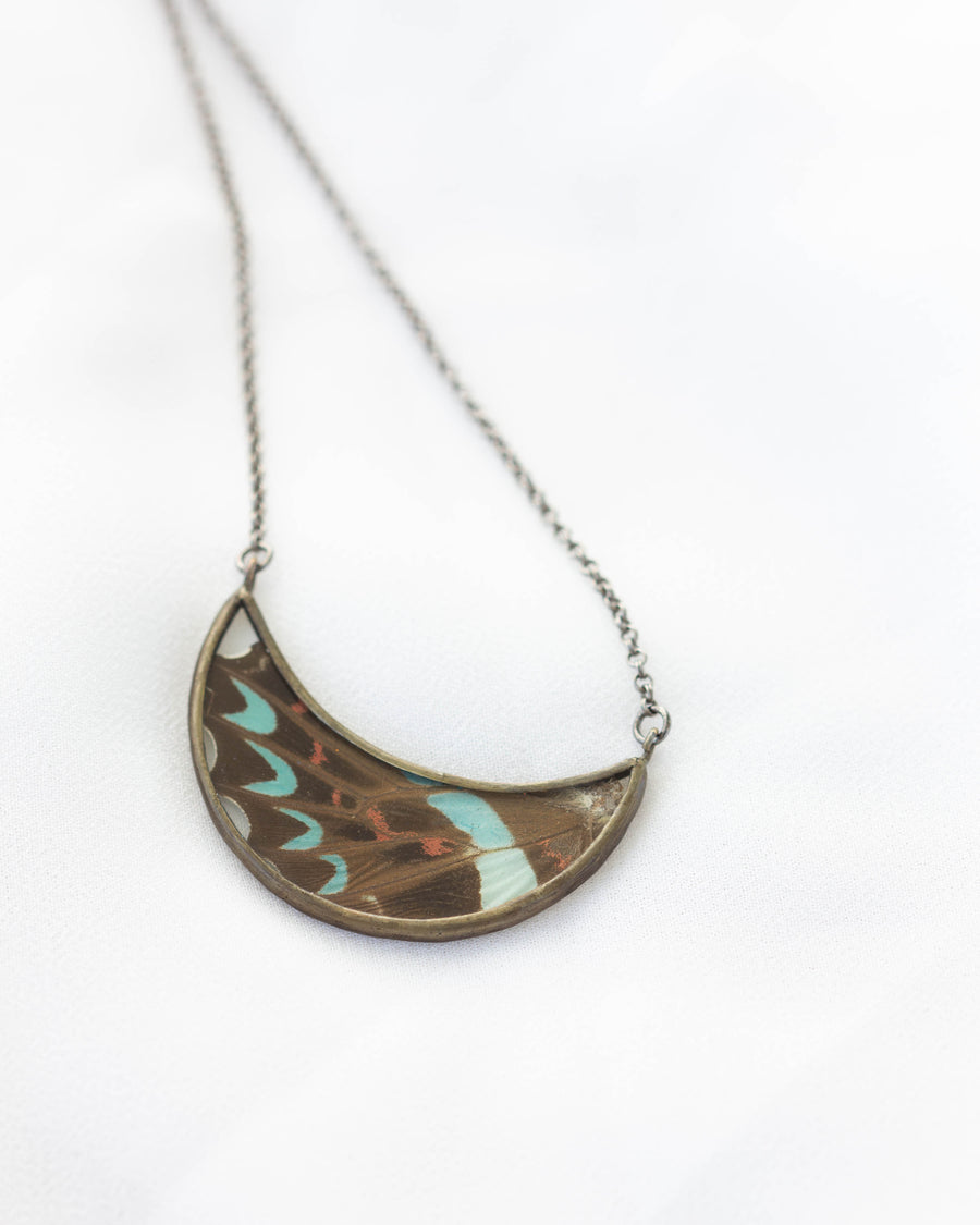 Sky Changes Necklace <br> Blue Bottle Butterfly