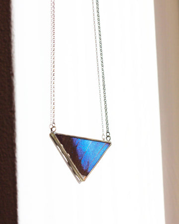 Triangle Necklace with Blue Morpho