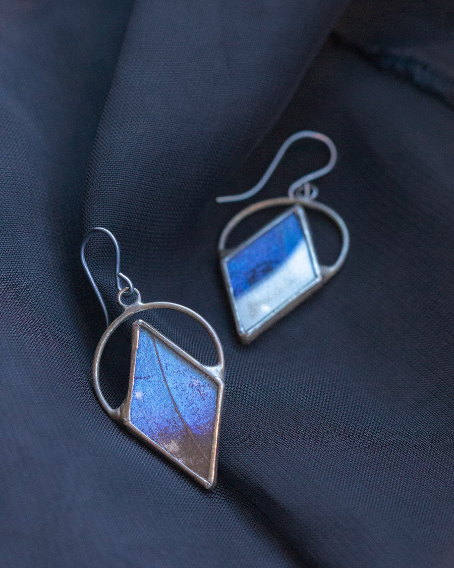 Venus Earrings with Blue Morpho Butterfly