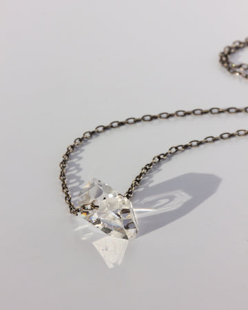 Herkimer Diamond <br> Small Ox. Silver Chain