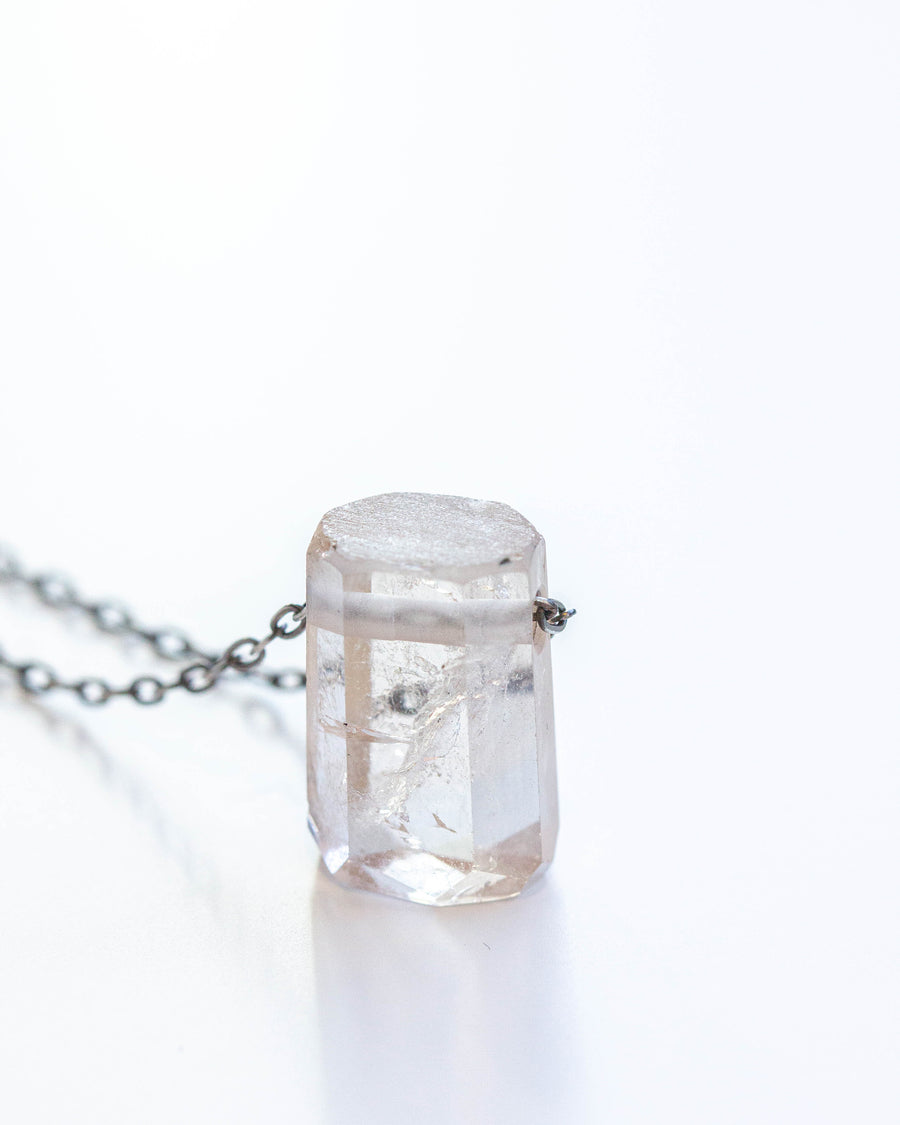 Imperial Topaz Crystal Necklace with Blackened Silver Chain
