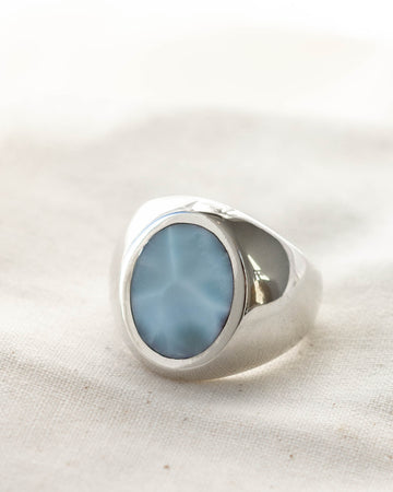 Oval Signet Ring <br> Larimar & Silver