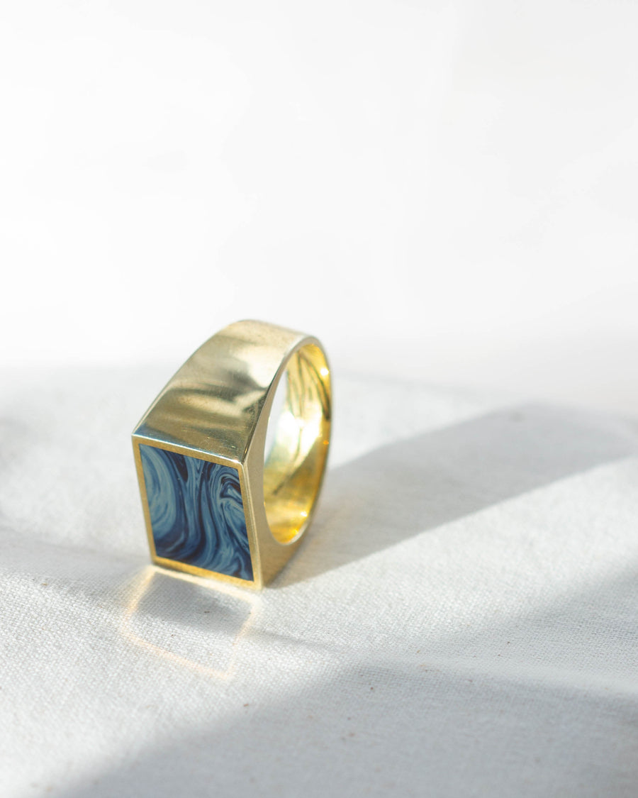 Rectangle Signet Ring <br> Sieber Agate & Brass