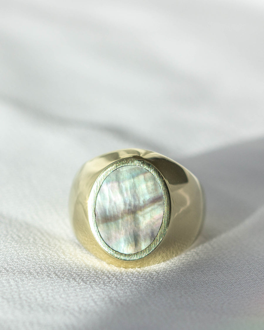 Oval Signet Ring <br> Black Mother of Pearl & Brass