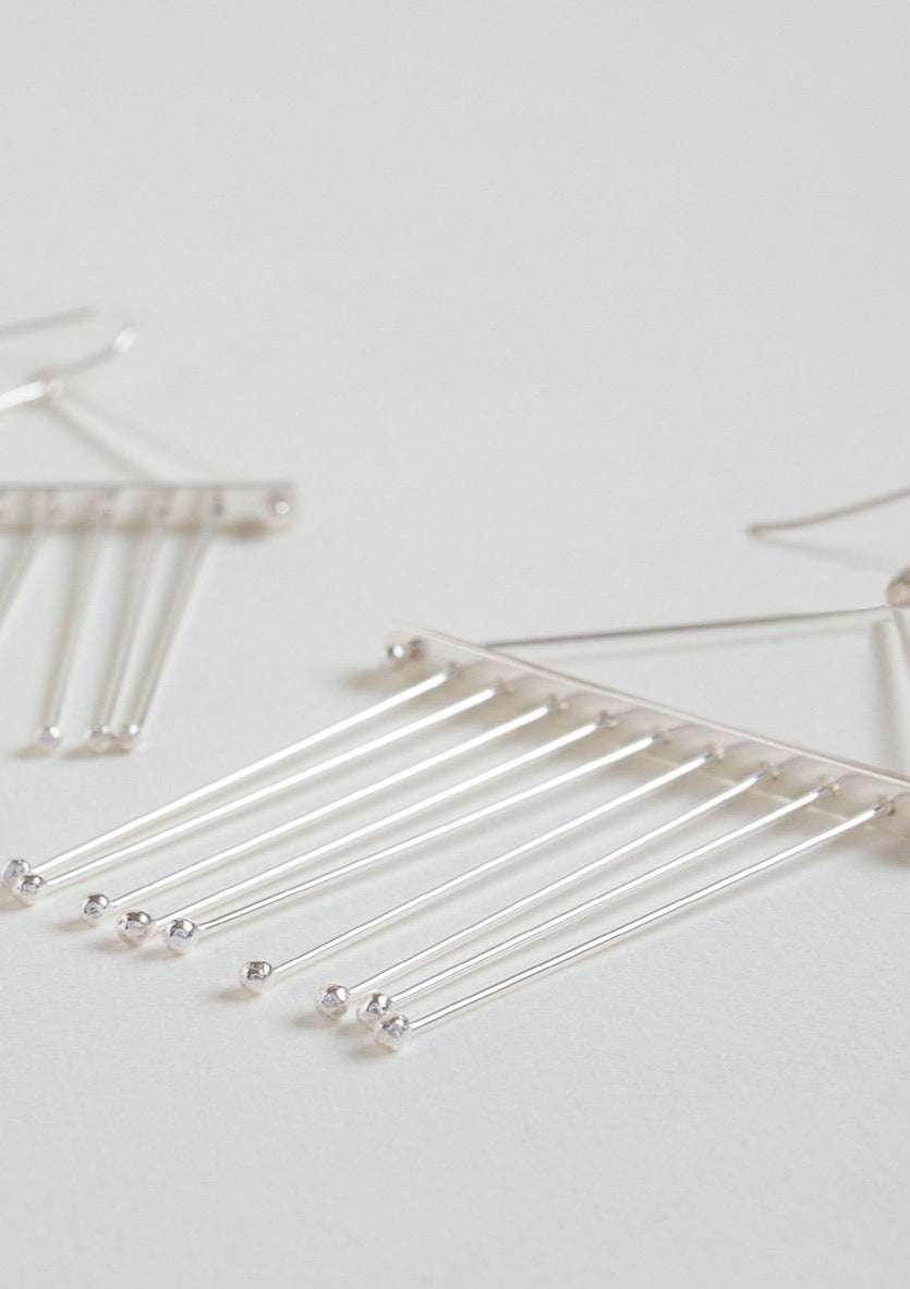 Tented Maya Earrings <br> Sterling Silver