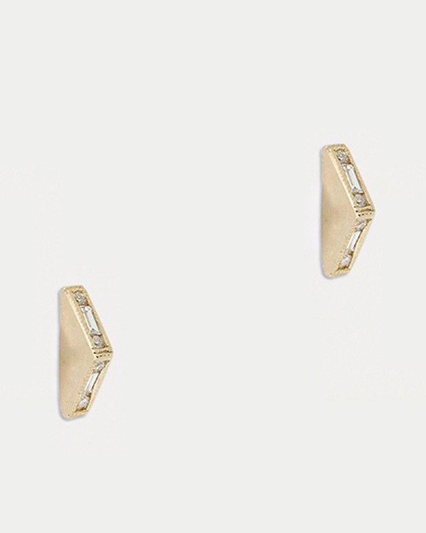 Mosaic Bateau Studs <br> Diamonds & Gold