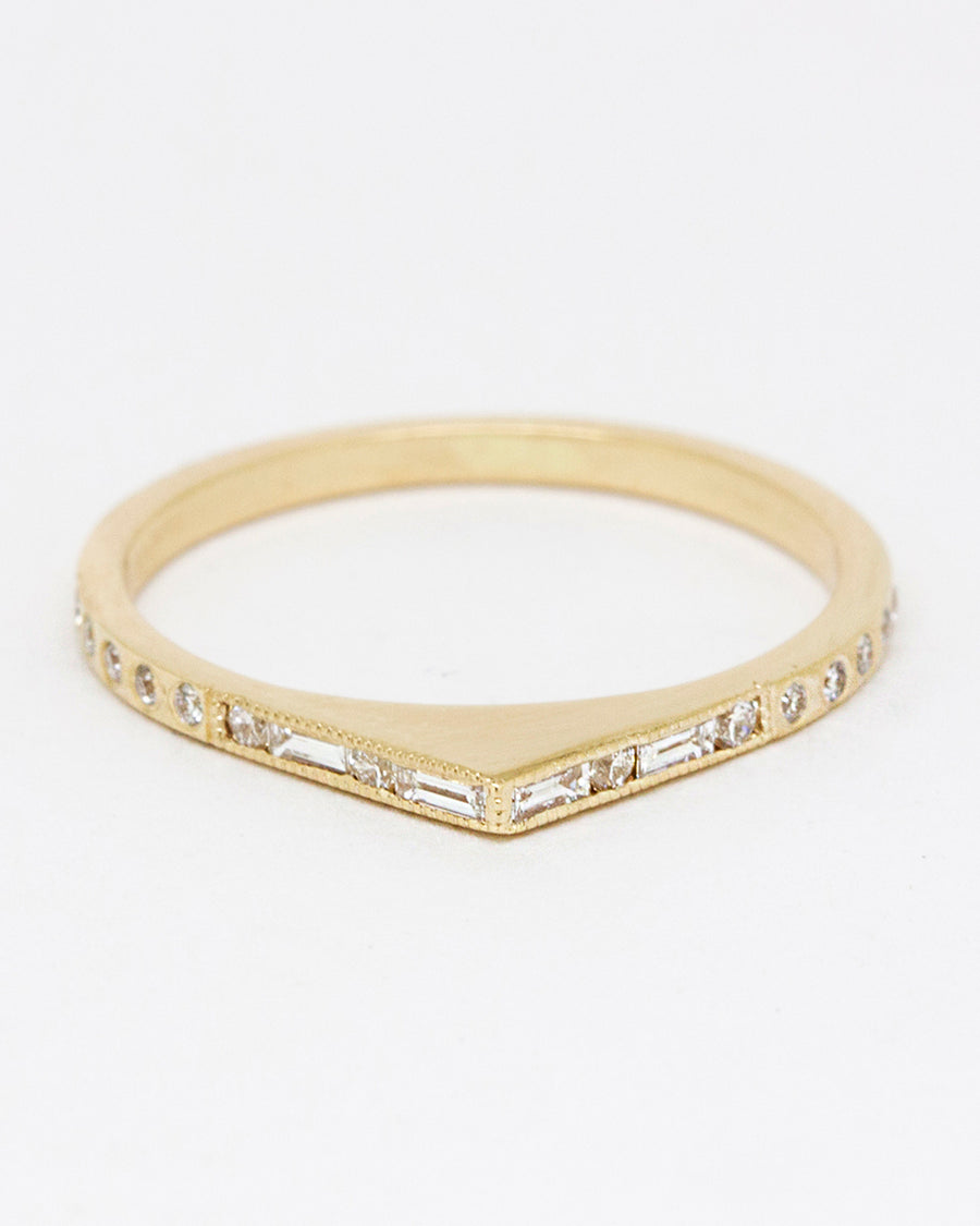 Mosaic Bateau Ring <br> Diamonds & Gold