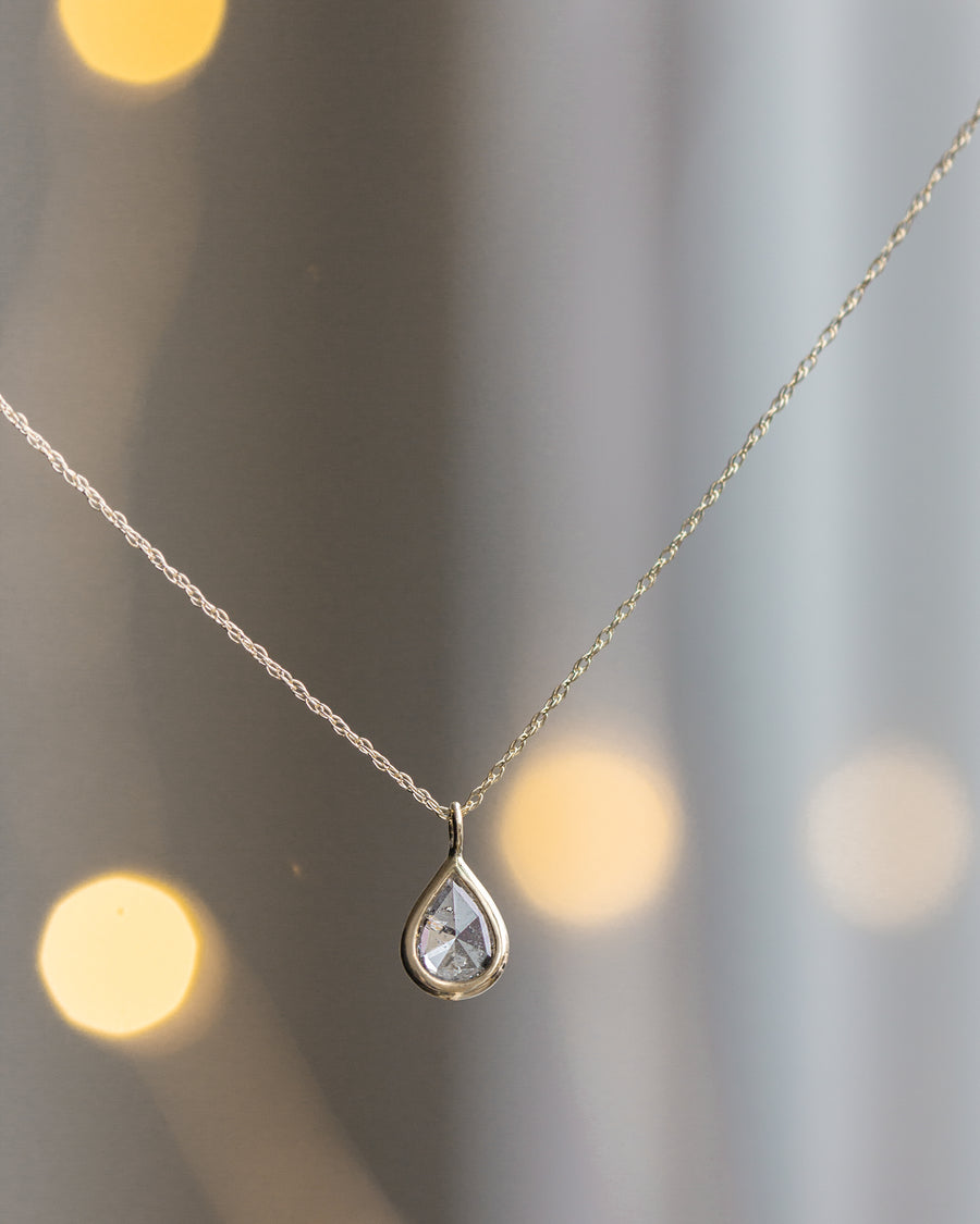 Diamond Teardrop Osca Necklace in 14k yellow gold • limited edition •