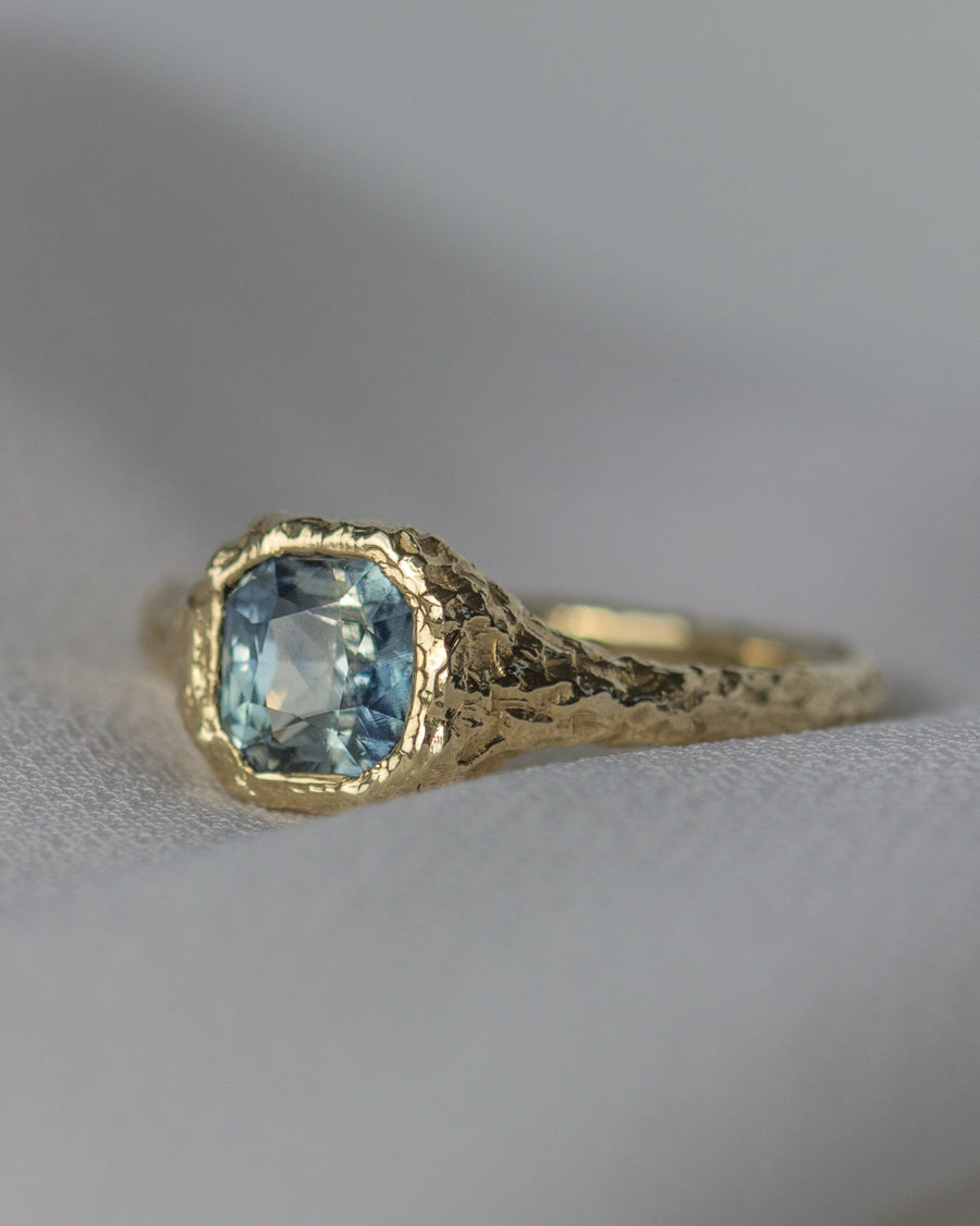 OOAK Rasp Solitaire No. 1 with Madagascar Sapphire and Gold Band