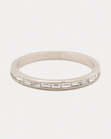 River Of Light Band with White Diamonds in Gold