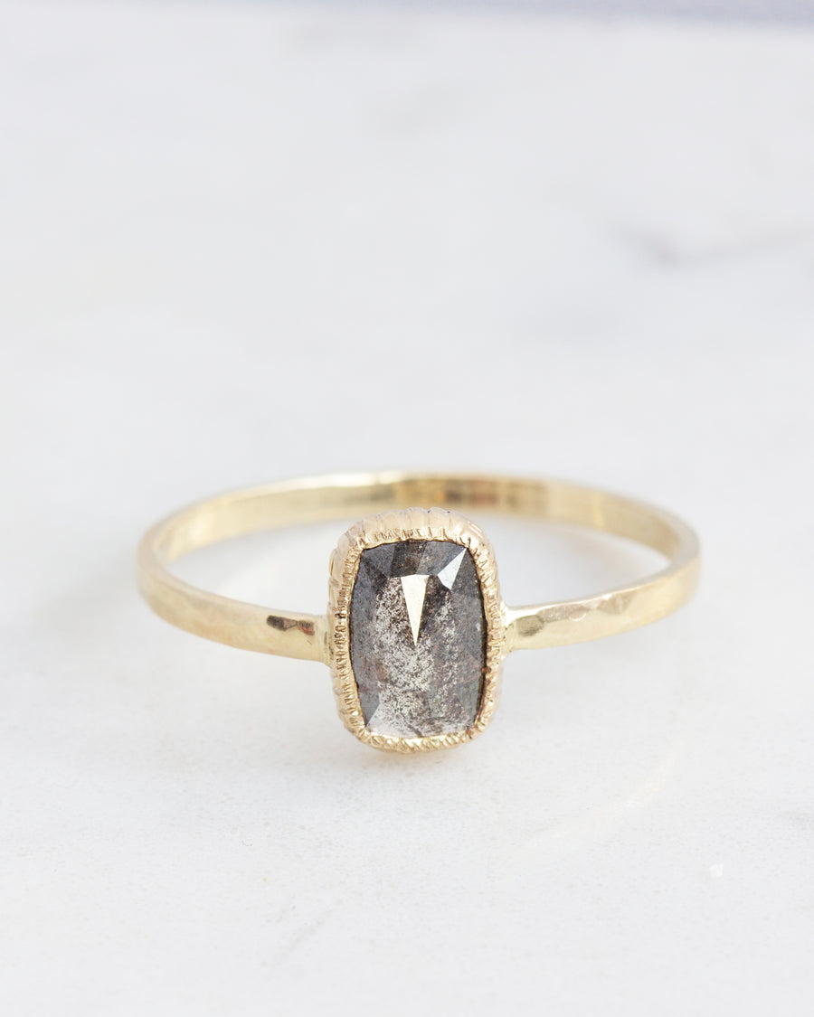 OOAK Salt & Pepper Diamond Rustic Ring in Yellow Gold
