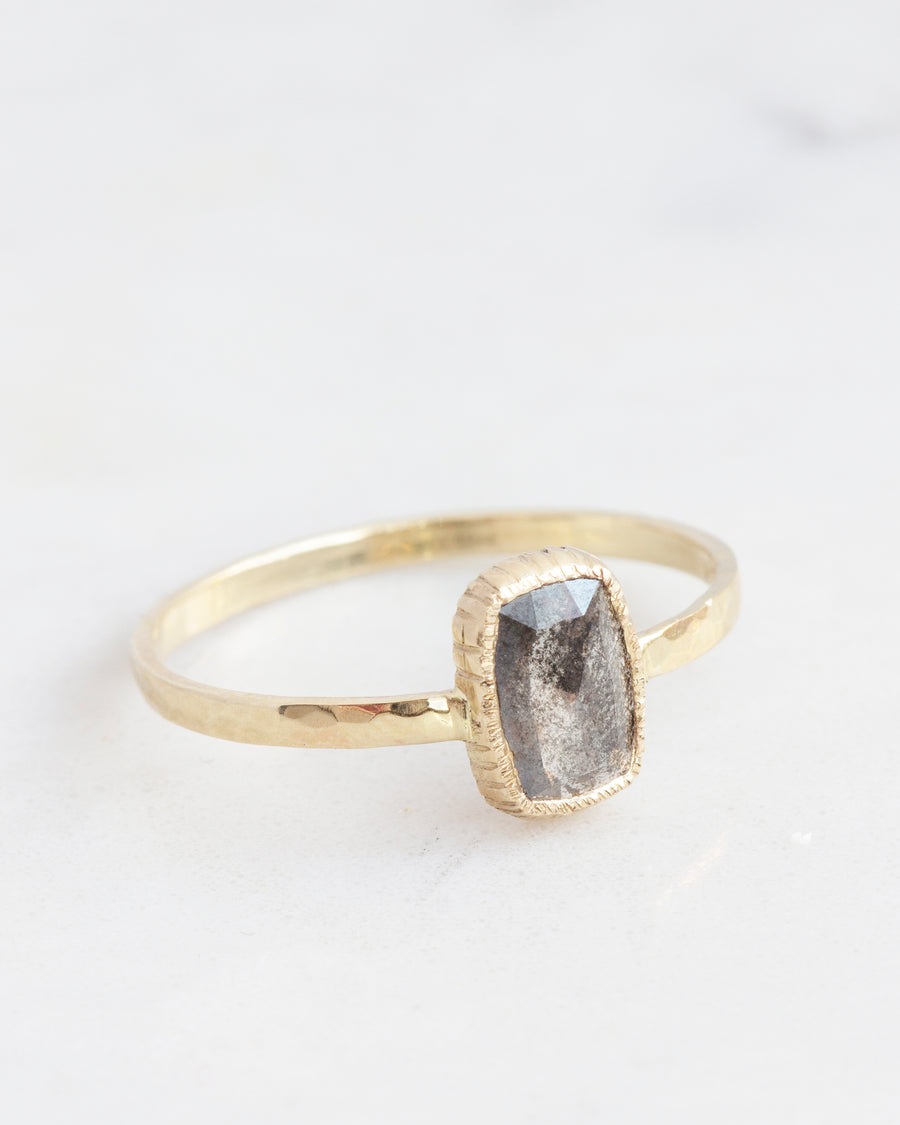 OOAK salt & pepper Cushion Cut Diamond Rustic Ring in yellow gold