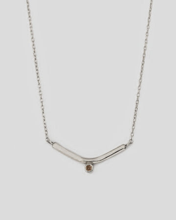 Vestra Necklace with Champagne Diamond in Silver