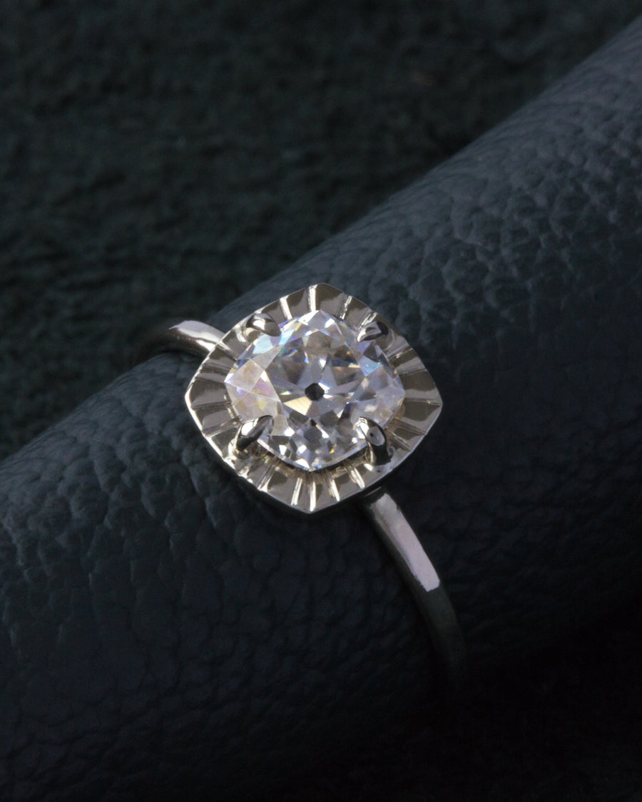 OOAK Etruscan Ring with Moissanite Stone in White Gold