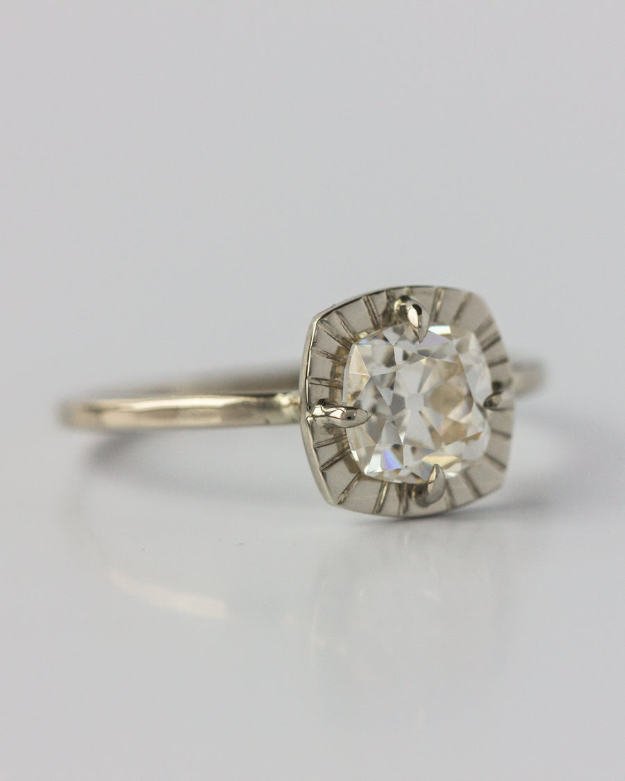 OOAK Etruscan Ring <br> Moissanite & White Gold