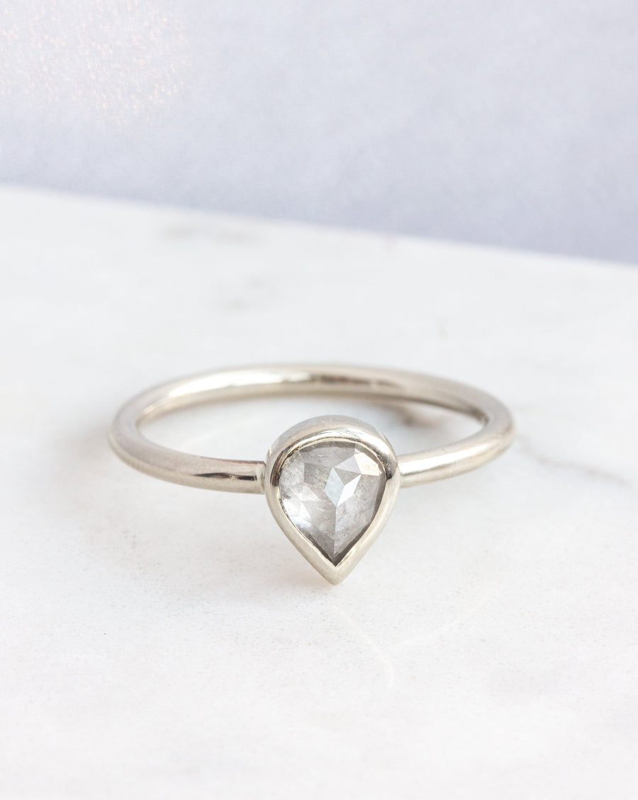 OOAK Gray Pear Diamond Leonora Ring in white gold