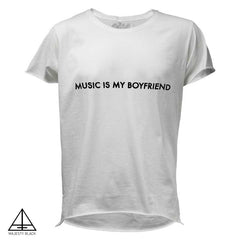 MAJESTY BLACK x NICOLE MOUDABER<br /> MUSIC IS MY BOYFRIEND WHITE T-SHIRT