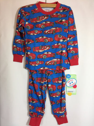 Sara's Prints Red Race Car Pajamas in Blue - Seesaw4kids