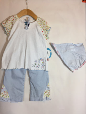 Kaboo Floral Blue Pant with T Set With Headscarf - Seesaw4kids
