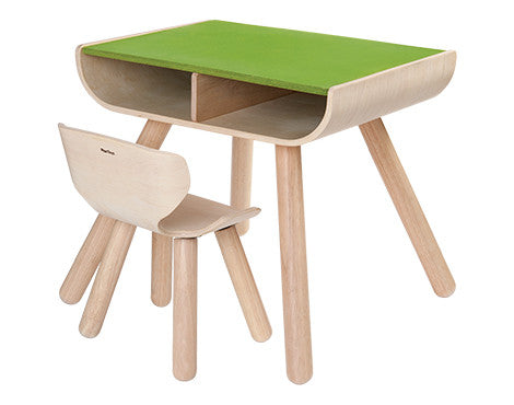 Plan Toys Table & Chair – Green - Seesaw4kids