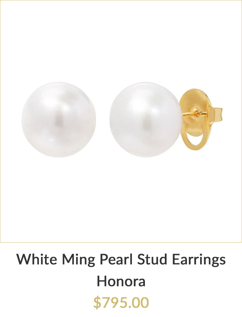 Yellow Gold White Ming Pearl Stud Earrings