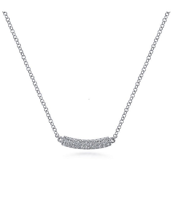 14K White Gold Curved Pave Diamond Bar Necklace
