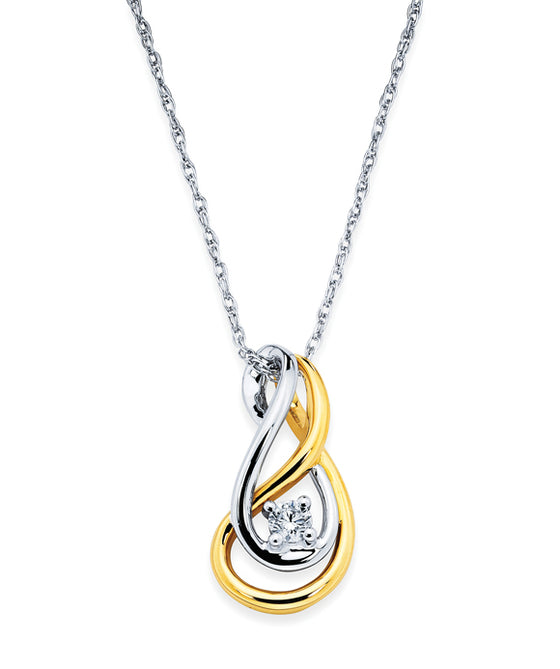 Ostbye - 14K Gold Swirl Diamond Fashion Pendant