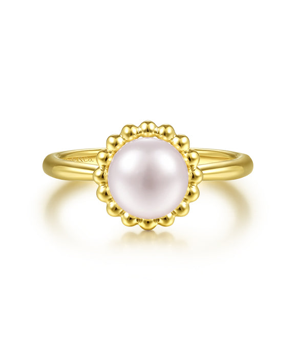 14K Yellow Gold Pearl Ring with Bujukan Beaded Halo