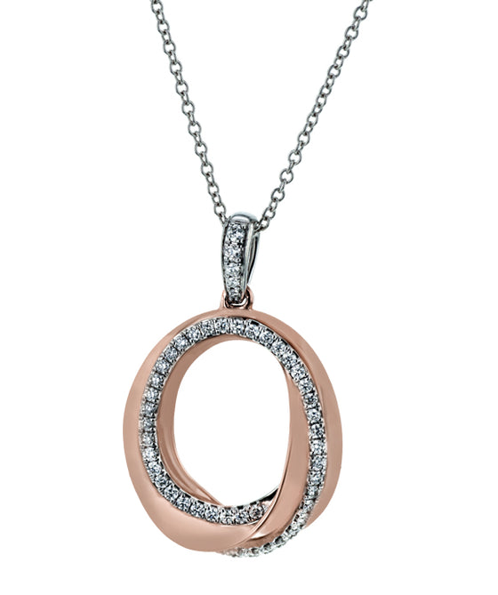 Simon G. - 18K White and Rose Gold Diamond Pendant