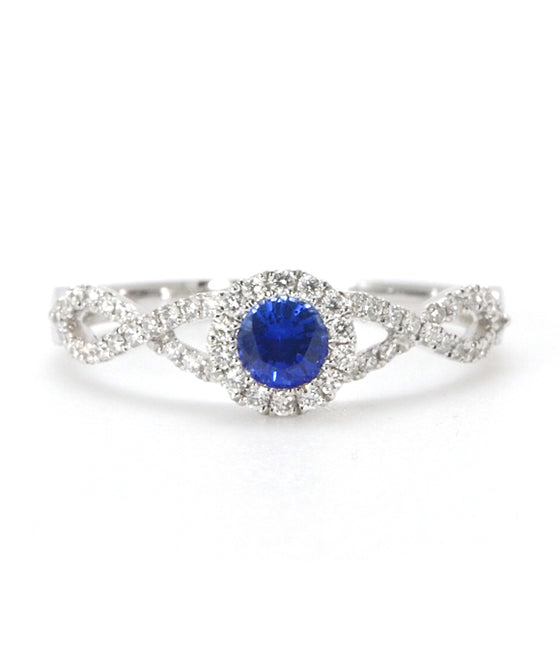 14K White Gold Diamond and Ceylon Sapphire Halo Twist Ring